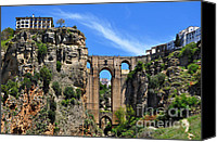 Ronda Canvas Prints - The Bridge in Ronda Spain Canvas Print by Mary Machare