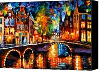Afremov Canvas Prints - The Bridges Of Amsterdam Canvas Print by Leonid Afremov