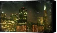 San Francisco Digital Art Canvas Prints - The Bright City Lights Canvas Print by Laurie Search