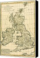 Antique Drawings Canvas Prints - The British Isles Canvas Print by Guillaume Raynal 