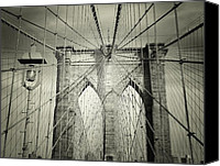 Nyc Canvas Prints - The Brooklyn Bridge Canvas Print by Vivienne Gucwa