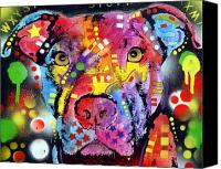 Dean Russo Mixed Media Canvas Prints - The Brooklyn Pitbull 1 Canvas Print by Dean Russo