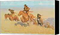 Remington Canvas Prints - The Buffalo Runners Big Horn Basin Canvas Print by Frederic Remington