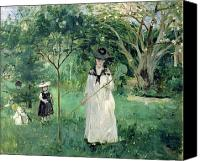 Gardens Canvas Prints - The Butterfly Hunt Canvas Print by Berthe Morisot