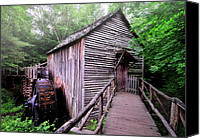 Old Mill Scenes Canvas Prints - The Cable Grist Mill Canvas Print by Thomas Schoeller