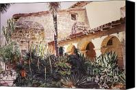 Featured Artist Canvas Prints - The Cactus Courtyard - Mission Santa Barbara Canvas Print by David Lloyd Glover