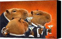 Humor. Painting Canvas Prints - The Capybara Club... Canvas Print by Will Bullas