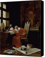 Reading Painting Canvas Prints - The Cardinals Leisure  Canvas Print by Charles Edouard Delort