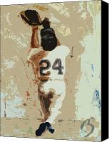 Mlb Painting Canvas Prints - The Catch Canvas Print by Adam Barone