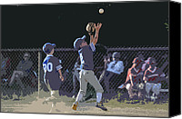 Sports Canvas Prints - The Catch Canvas Print by Peter  McIntosh