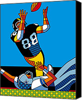 Steelers Canvas Prints - The Catch Canvas Print by Ron Magnes