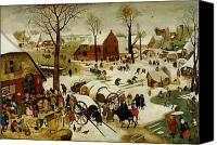 Skating Canvas Prints - The Census at Bethlehem Canvas Print by Pieter the Younger Brueghel