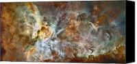 Hubble Canvas Prints - The Central Region Of The Carina Nebula Canvas Print by Stocktrek Images