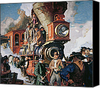 Pioneers Painting Canvas Prints - The Ceremony of the Golden Spike on 10th May Canvas Print by Dean Cornwall