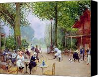 Sat Canvas Prints - The Chalet du Cycle in the Bois de Boulogne Canvas Print by Jean Beraud