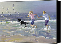 Beach Scene Canvas Prints - The Chase Canvas Print by William Ireland 
