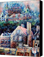 Hockey Painting Canvas Prints - The Chateau Frontenac Canvas Print by Carole Spandau