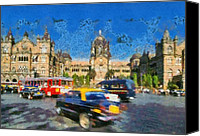 Cars Canvas Prints - The Chatrapathi station in Mumbai Canvas Print by George Atsametakis
