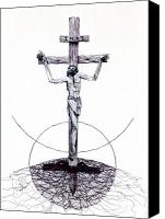 Jesus Drawings Canvas Prints - The Christ Ink Drawing Canvas Print by Kd Neeley