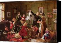 Christmas Painting Canvas Prints - The Christmas Hamper Canvas Print by Robert Braithwaite Martineau