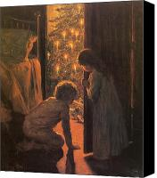 Eve Painting Canvas Prints - The Christmas Tree Canvas Print by Henry Mosler