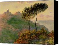 Monet Painting Canvas Prints - The Church at Varengeville against the Sunlight Canvas Print by Claude Monet