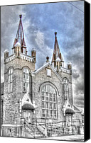 Christian Sacred Digital Art Canvas Prints - The Church Steeples Canvas Print by Dan Stone