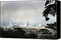 Textured Landscape Canvas Prints - The City by the Bay Canvas Print by Ellen Cotton