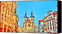 Czech Pyrography Canvas Prints - The City Square Canvas Print by R K