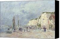 Families Canvas Prints - The Cliffs at Dieppe and the Petit Paris Canvas Print by Eugene Louis Boudin