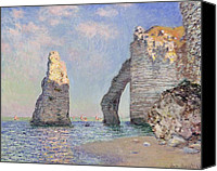 Oil On Canvas Canvas Prints - The Cliffs at Etretat Canvas Print by Claude Monet