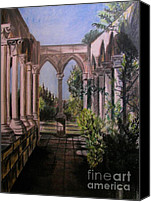 Flora Pastels Canvas Prints - The Cloisters Colonade Canvas Print by Judy Via-Wolff
