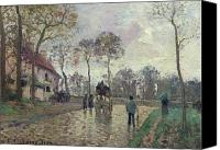 Louveciennes Canvas Prints - The Coach to Louveciennes Canvas Print by Camille Pissarro