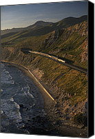 Public Transportation Canvas Prints - The Coast Starlight Train Snakes Canvas Print by Phil Schermeister