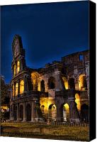 Tourist Attraction Canvas Prints - The Coleseum in Rome at night Canvas Print by David Smith