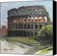 Ruins Canvas Prints - The Coliseum Rome Canvas Print by Anna Bain