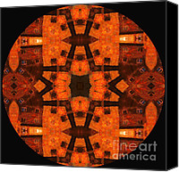 Spirituality Mixed Media Canvas Prints - The Color Orange Mandala Abstract Canvas Print by Zeana Romanovna