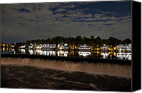 Boathouse Canvas Prints - The Colorful Lights of Boathouse Row Canvas Print by Bill Cannon