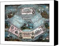 Between Mixed Media Canvas Prints - The Confederate Note Memorial  Canvas Print by War Is Hell Store