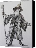 Magician Drawings Canvas Prints - The Conjuror Canvas Print by Raffi  Jacobian