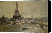 Grey Clouds Painting Canvas Prints - The Construction of the Eiffel Tower Canvas Print by Paul Louis Delance