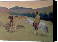 1861 Canvas Prints - The Conversation Canvas Print by Frederic Remington