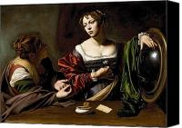 Magdalene Canvas Prints - The Conversion of the Magdalene Canvas Print by Michelangelo Merisi da Caravaggio