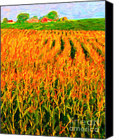 Rural Landscapes Digital Art Canvas Prints - The Cornfield Canvas Print by Wingsdomain Art and Photography