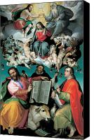 Enthroned Canvas Prints - The Coronation of the Virgin with Saints Luke Dominic and John the Evangelist Canvas Print by Bartolomeo Passarotti