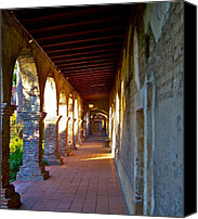 Accolade Canvas Prints - The Corridor by the Serra Chapel San Juan Capistrano Mission California Canvas Print by Karon Melillo DeVega