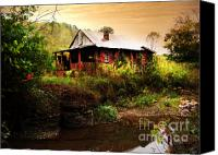 Old Cabins Canvas Prints - The Cottage by the Creek Canvas Print by Lj Lambert