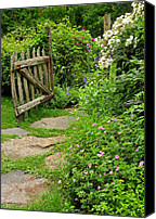 Fences Canvas Prints - The Cottage Garden Walkway Canvas Print by Thomas Schoeller