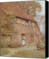 Wooden Bowls Canvas Prints - The Cottage with Beehives Canvas Print by Helen Allingham
