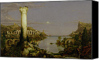 Ruin Painting Canvas Prints - The Course of Empire - Desolation Canvas Print by Thomas Cole